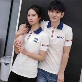 夏装新款韩版高中男女学生情侣装短袖翻领T恤衫班队服可定制LOGO