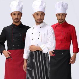 飯店廚師廚房工服廚師服廚師服長袖新款秋冬裝男女廚師工作服酒店
