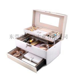 韩国PU皮首饰盒桌面饰品收纳盒创意家居抽屉首饰盒