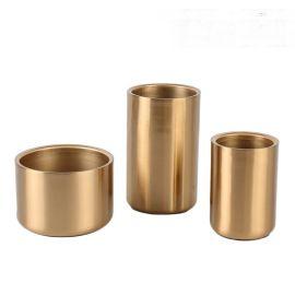 古铜色金色圆柱金属花器瓶禅意中式北欧式创意样板间装饰摆件摆台