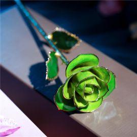 黛雅新款独特生日礼物 女生专爱款礼盒装烤漆镀金玫瑰 浅绿色 厂家批发