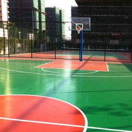 广西百色塑胶弹性地坪篮球场包工包料 康奇体育