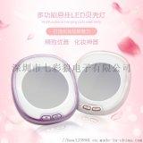 多功能臺式立放懸掛圓形開關LED梳妝鏡