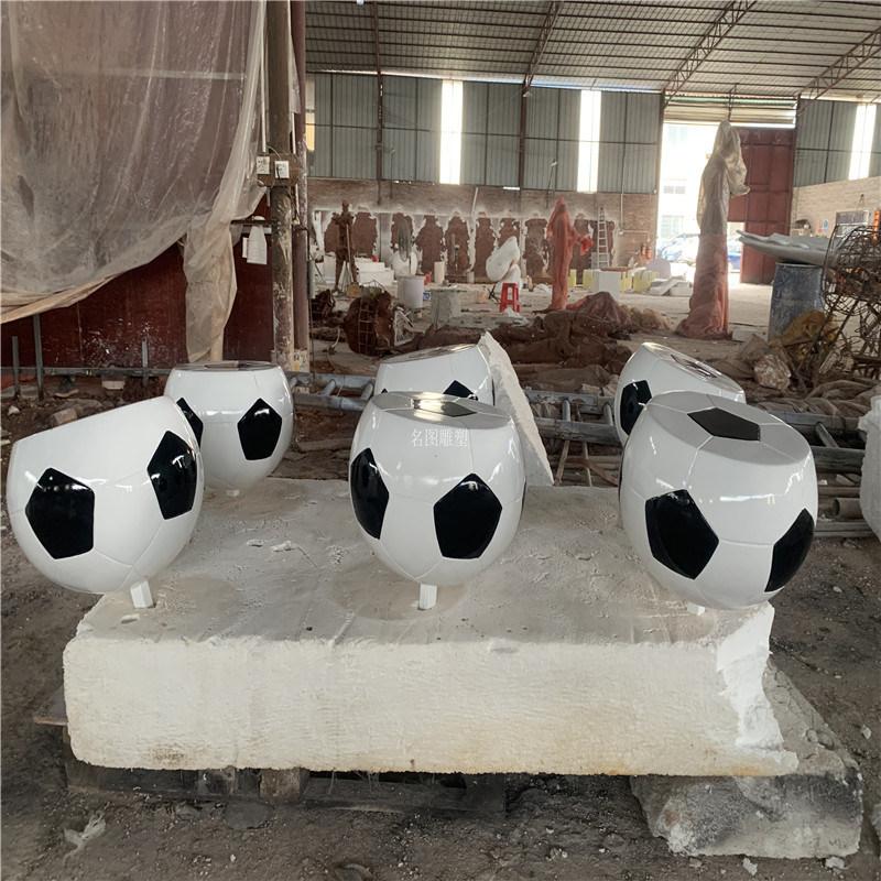 玻璃钢休闲座椅雕塑 商场足球形坐凳雕塑造型摆件