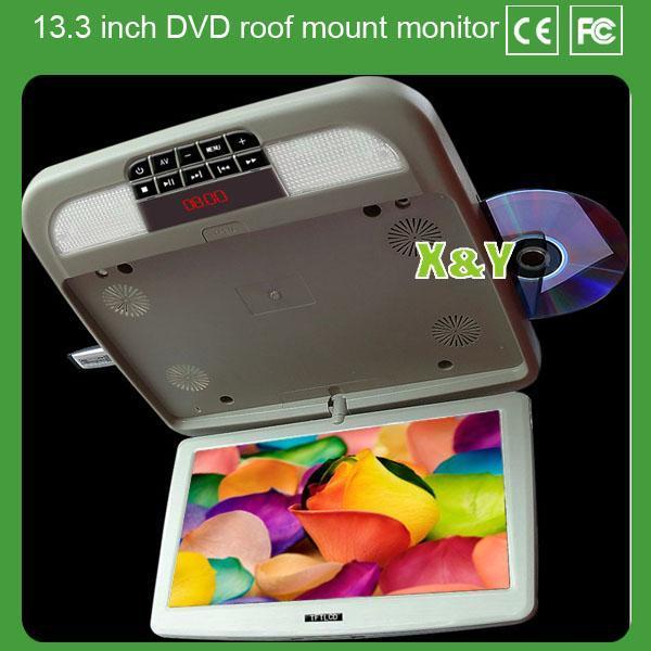 厂家供应 13.3寸汽车车载吸顶显示器 dvd液晶超薄显示器
