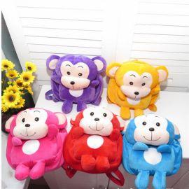 韩版幼儿园2-4岁宝宝书包毛绒毛猴帆布双肩包卡通儿童小背包
