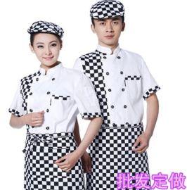 上海厂家供应酒店厨师服夏装短袖餐厅饭店厨房工作服定做厨师衣服