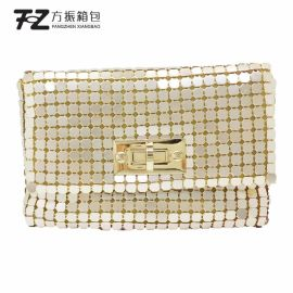 上海方振厂家定做生产铝片包 化妆包 女士手拿亮片零钱包