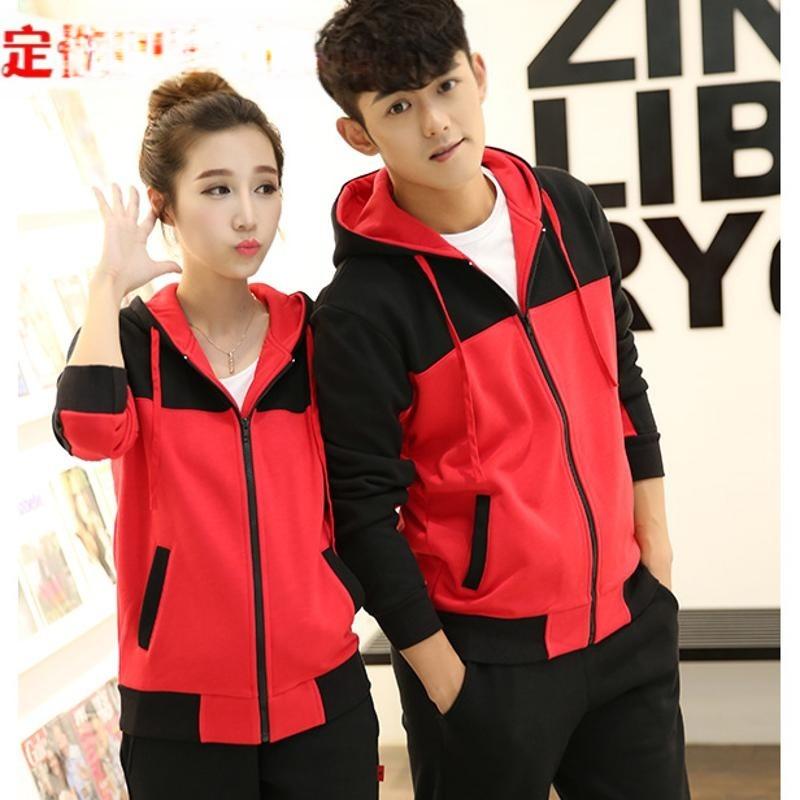 上海批发定制秋冬装韩版女式连帽拉链开衫运动套装印制LOGO