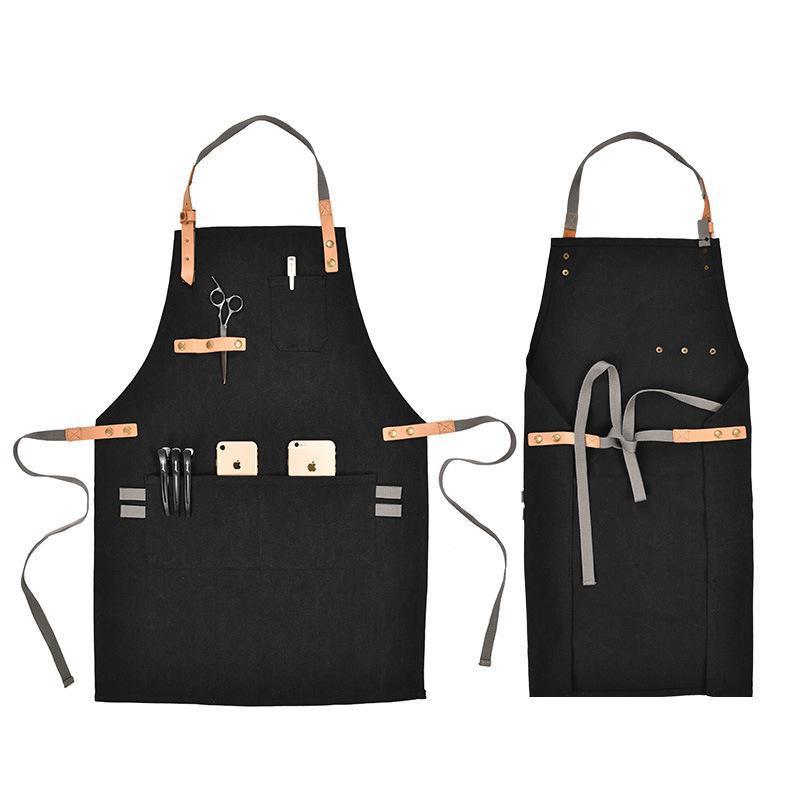 时尚简约帆布工装围裙可调节男女通用咖啡店餐厅挂脖围腰LOGO