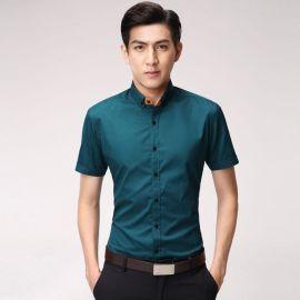 夏季新款海绿色男士衬衣平纹抗皱假领结韩版短袖职业衬衫热销定做