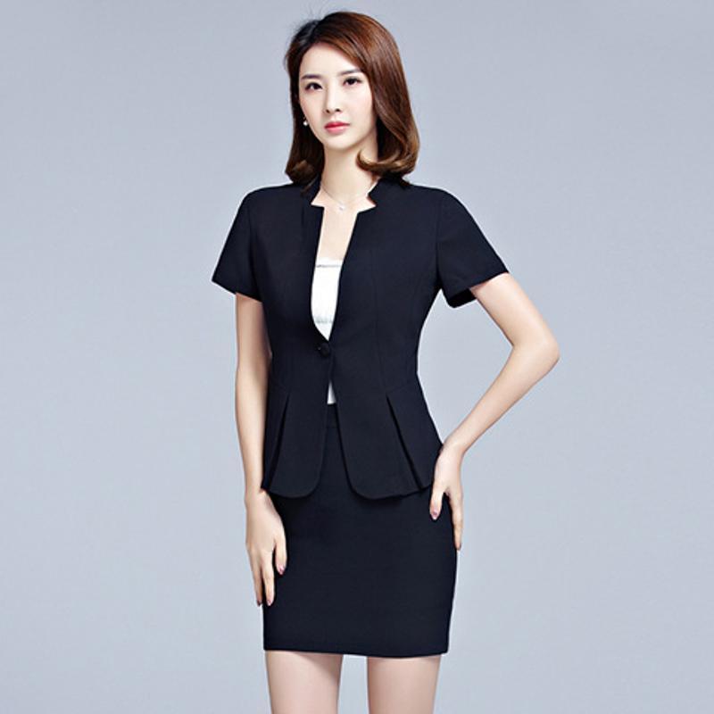 供应夏季职业装女装套裙短袖时尚OL正装面试服白领工作服两件套