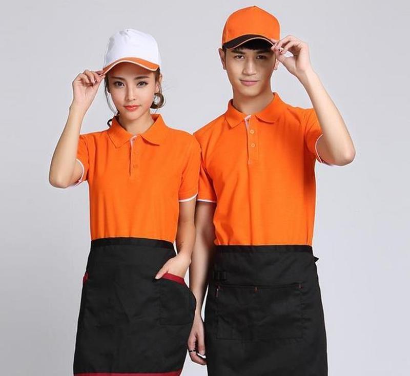 餐饮酒店工作服夏装快餐厅饭店服务员工作服百搭短袖咖啡奶茶店女