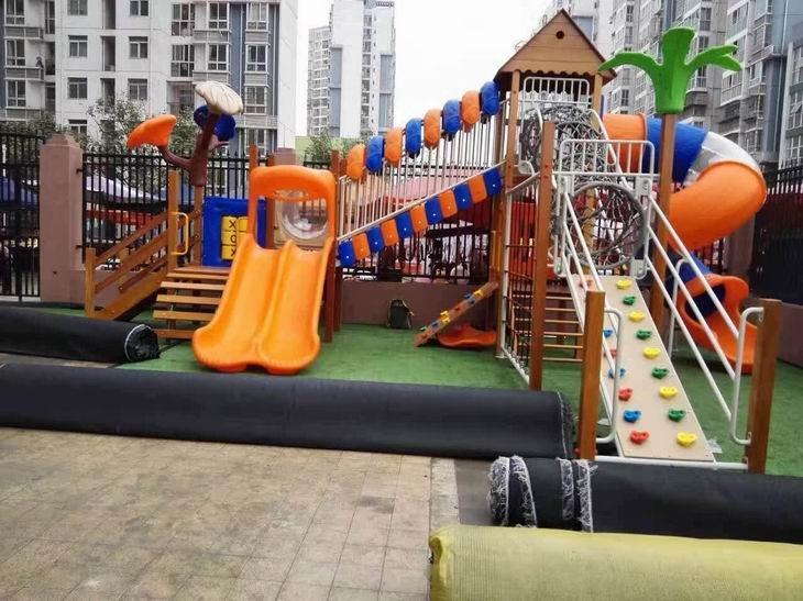 兒童實木戶外大型滑梯