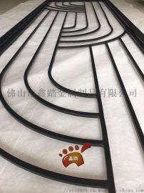 欧式现代不锈钢哑黑铝板雕刻屏风 酒店会所花格定制