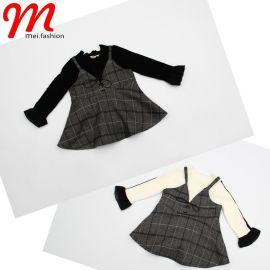 韩版格子童套装2017潮流时尚中小女童圆领针织上衣+吊带裙两件套