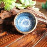 2016年新款长沙窑古朴蓝釉粗陶瓷纯手工功夫茶杯茶盏定制礼品批发