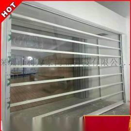 专业定制 电动直线水晶卷帘门 铝合金直条透明闸门