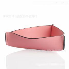 超纤皮合金三角形粉红色首饰盒皮革家居饰品样板房间软装摆台摆件