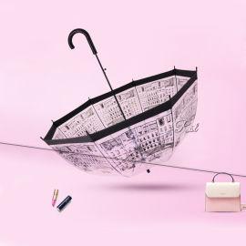 RST星宝伞业素描城市玫瑰透明阿波罗鸟笼雨伞