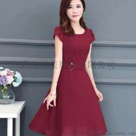雨贝尔重庆大码女装货源  真丝面料印花连衣裙