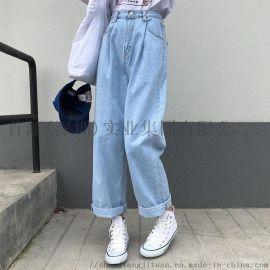 網紅寬鬆高腰復古直筒牛仔褲