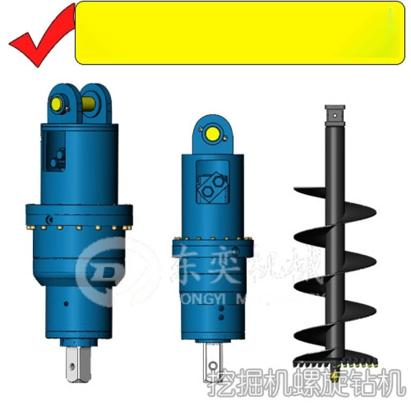 小挖机螺旋钻机、钻电线杆孔、日立勾机液压钻孔机厂