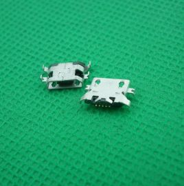 MICRO 5P沉板式无边4脚弯针带孔三星安卓等手机尾插USB母座连接器