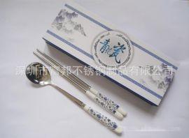 深圳厂价直销青花瓷勺筷 礼盒勺筷 陶瓷勺筷 礼品餐具套装