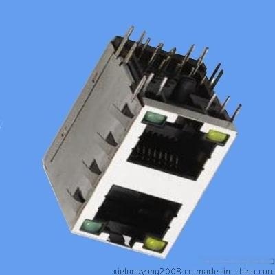 网络接口 RJ45双口 带灯 连接器