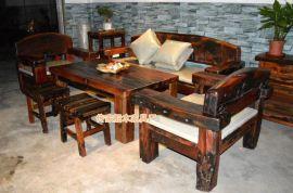 船木休闲沙发 船木独厚板沙发 船木机座木沙发套装