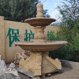 石雕喷泉,大理石风水球,黄锈石水钵