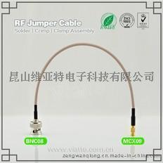BNC08-MCX09BNC(Plug)  公针 to MCX(Jack)母头母针直式铆压接RG316_RG174同轴电缆/50Ω