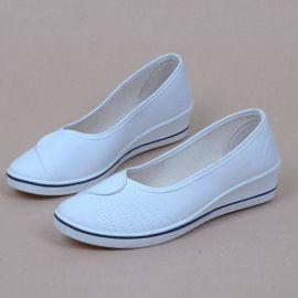 新款一字牌护士鞋布鞋春秋黑白色坡跟女工作鞋软底牛筋底春夏