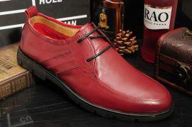 新款软面牛皮男鞋 透气时尚休闲平底男鞋 舒适系带橡胶底男单鞋