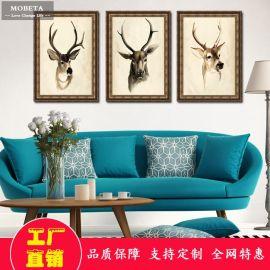 简约现代餐厅客厅沙发走廊书房背景墙挂画抽象鹿壁画装饰画三联鹿