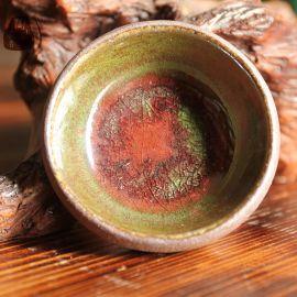 2016年新款长沙铜官窑天然古朴绿釉粗陶瓷纯手工功夫茶杯**