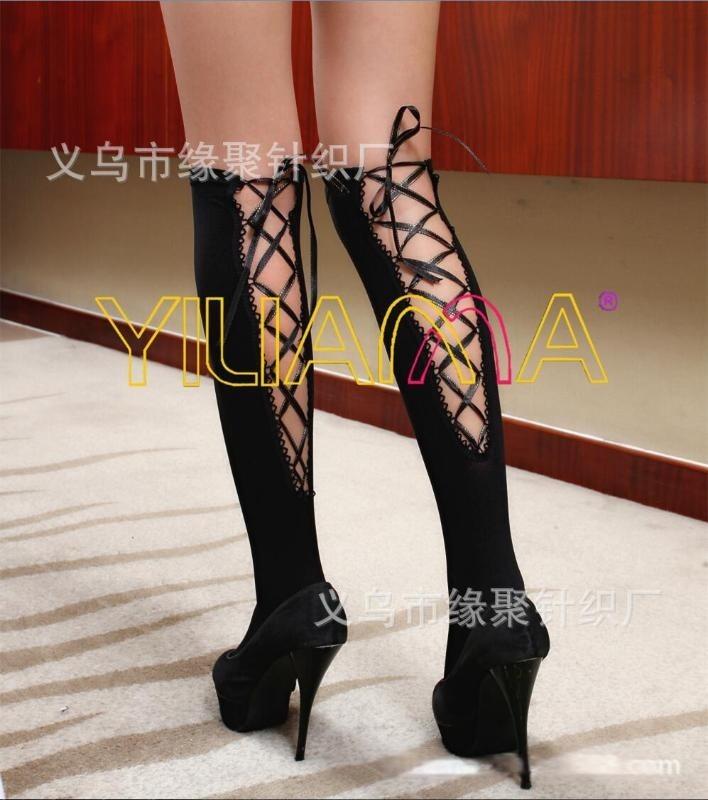 情趣丝袜批发厂家直销2015新款时尚绑带花边天鹅绒长统丝袜