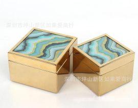 不锈钢金属金色正方形绿色水波玻璃首饰收纳盒样板间软装摆件欧式