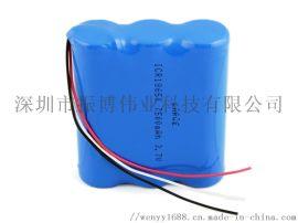 18650锂电池组7.4V 出DC头2200容量