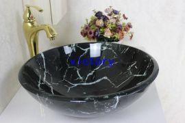 手绘艺术钢化玻璃洗手盆套装 洗漱盆 手绘盆 洗手池 面盆 台盆 艺术盆 N-119