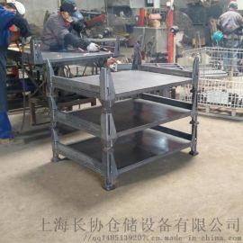 可折叠金属网箱托盘 方管仓储笼折叠网格堆垛架