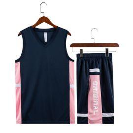 粉蓝篮球服套装男比赛服夏季学生篮球衣定制印字透气个性潮背心
