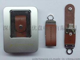 商务皮质u盘定制 皮革USB 真皮U盘 黑色/棕色/ 创意个性化U盘