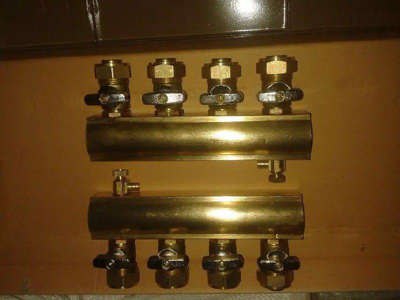 纯铜地暖分水器供应