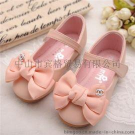 品牌童鞋蝴蝶结新款春秋  鞋儿童单鞋柔软底真皮童鞋 一件代发