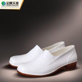 雨鞋金橡PVC雨靴男士食品厨房鞋防水低筒耐油酸碱元宝鞋