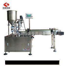 厂家供应精油膏霜半自动灌装机 香水自动瓶装液体灌装锁盖一体机