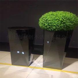 不锈钢艺术花盆定制加工不锈钢黑色烤漆花箱