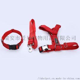 寵物狗狗牽引三件套可伸縮項圈大型犬反光胸背繩定製